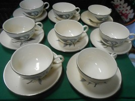 "Beautiful HOMER LAUGHLIN ""Rhythm"" Set of 8 CUPS & SAUCERS - $34.24"