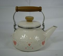 Corelle Forever Yours Tea Kettle Enamel Lincoware Pot Corning Wooden Handle - $19.79