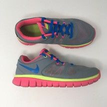 Nike Girl's Sz 5 Y Flex 2014 Run Gray Mesh Lace Up Athletic Shoes 642755... - $21.78