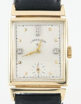 Lord Elgin Vtg 14k Yellow Gold & Diamond Hand-Winding Watch w/ Leather Band - $819.71