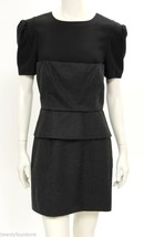 Bird by Juicy Couture Peplum Dress in Black & Gray wool layers sz L - $62.36
