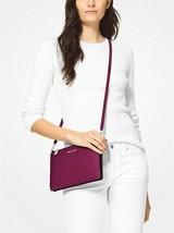 Michael Kors Adele Large Double Zip Crossbody Bag Garnet Pebbled Leather - $69.29