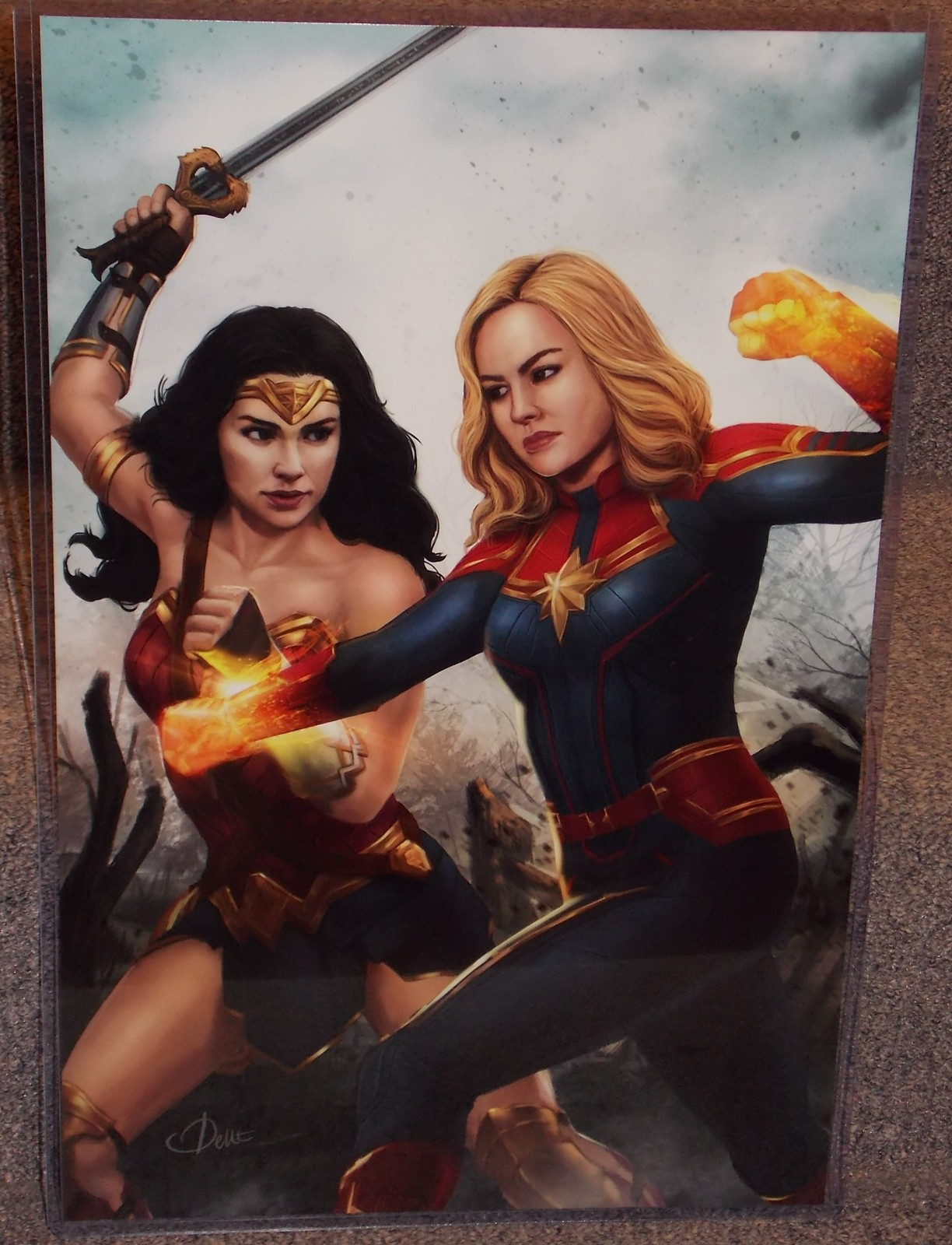 Primary image for Wonder Woman vs Captain Marvel Glossy Art Print 11 x 17 In Hard Plastic Sleeve