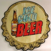 Ice Cold Beer Bottle Cap Embossed Plasma Cut Metal Sign - $25.95