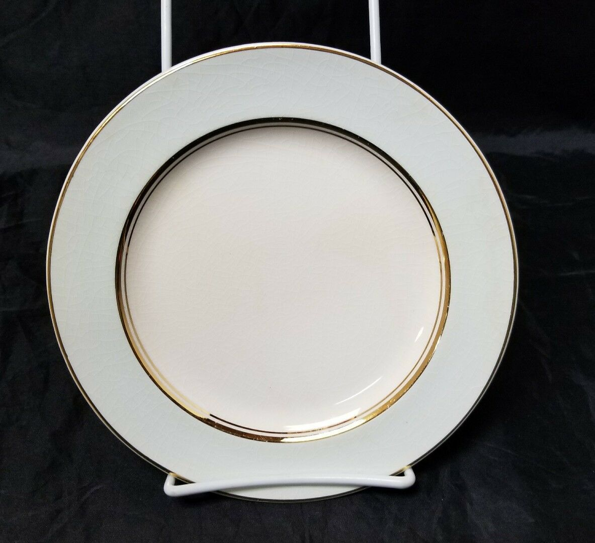 "French Saxon China Co Side Plates Set of 3 7.25"" White & Lgt Blue Pottery Salad"