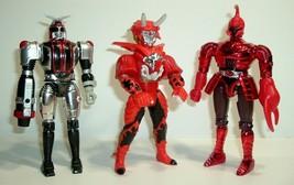 Vintage 1997 Bandai Big Bad Beetleborgs Action Figures Fireborg, Scorpix & Nukus - $69.95