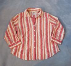 Talbots Womens Blouse Petites Size Medium Button Down Striped Cotton Career Top - $5.24