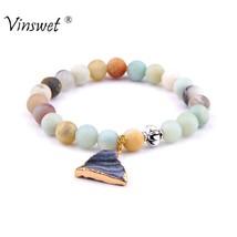 Charm Bracelets Natural Stone Amazonite Round Bead Bracelet Solid Crysta... - $9.53