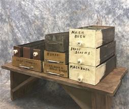 10 Wood Metal Storage Drawers Organizer Bins Arts Crafts Cubbyholes Vint... - $166.07 CAD