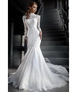 High Neck Mermaid Lace Wedding Dress with Jacket and Long Sleeves at Bli... - $499.99