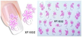 Nail Art Water Transfer Sticker Decal Stickers Pretty Flowers Pink Green... - $2.99