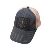 Indiana Flag Distressed Trucker Snap Back Baseball Cap Blue - $21.95