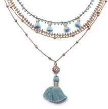 Catherine Popesco Aqua Beaded with Tassels Multi Strand Layered Goldtone... - $121.16