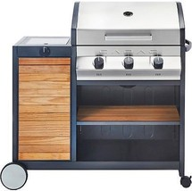 Wooden Propane Gas Grill Outdoor Cooking 3 Burners BBQ Barbecue Warming ... - £599.35 GBP