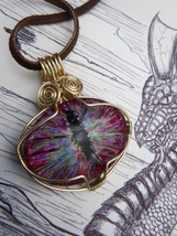 Pink Dragon, Dragon eyes, Dragon eye necklace, dungeons and dragons - $20.00