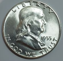1955 Franklin Silver Half Dollar 50¢ Coin Lot A623 image 3