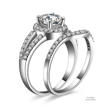 1 ct Round Cut Halo Split 925 Sterling Silver Cubic Zirconia Engagement Ring Set - $52.56