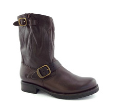 New FRYE Size 7.5 VERONICA SHORT Brown Leather Moto Boots - $209.00