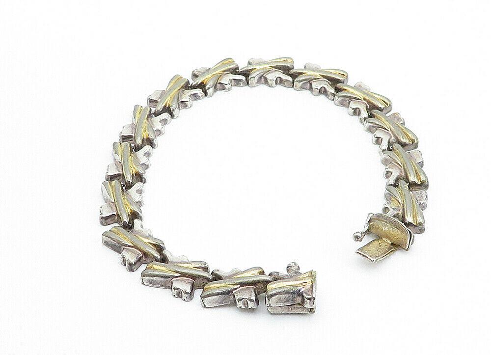 925 Sterling Silver - Vintage Two Tone X Link Chain Bracelet - B6116 image 4