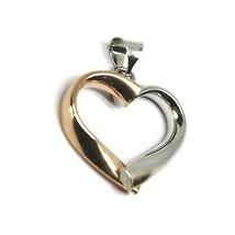 18K ROSE WHITE GOLD PENDANT ROUNDED HEART, DIAMETER 17mm, 0.67 inches, HUG image 2