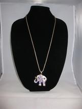 NEW Betsey Johnson White/Lavender Rhinestone Elephant Pendant on Lo... - $24.50