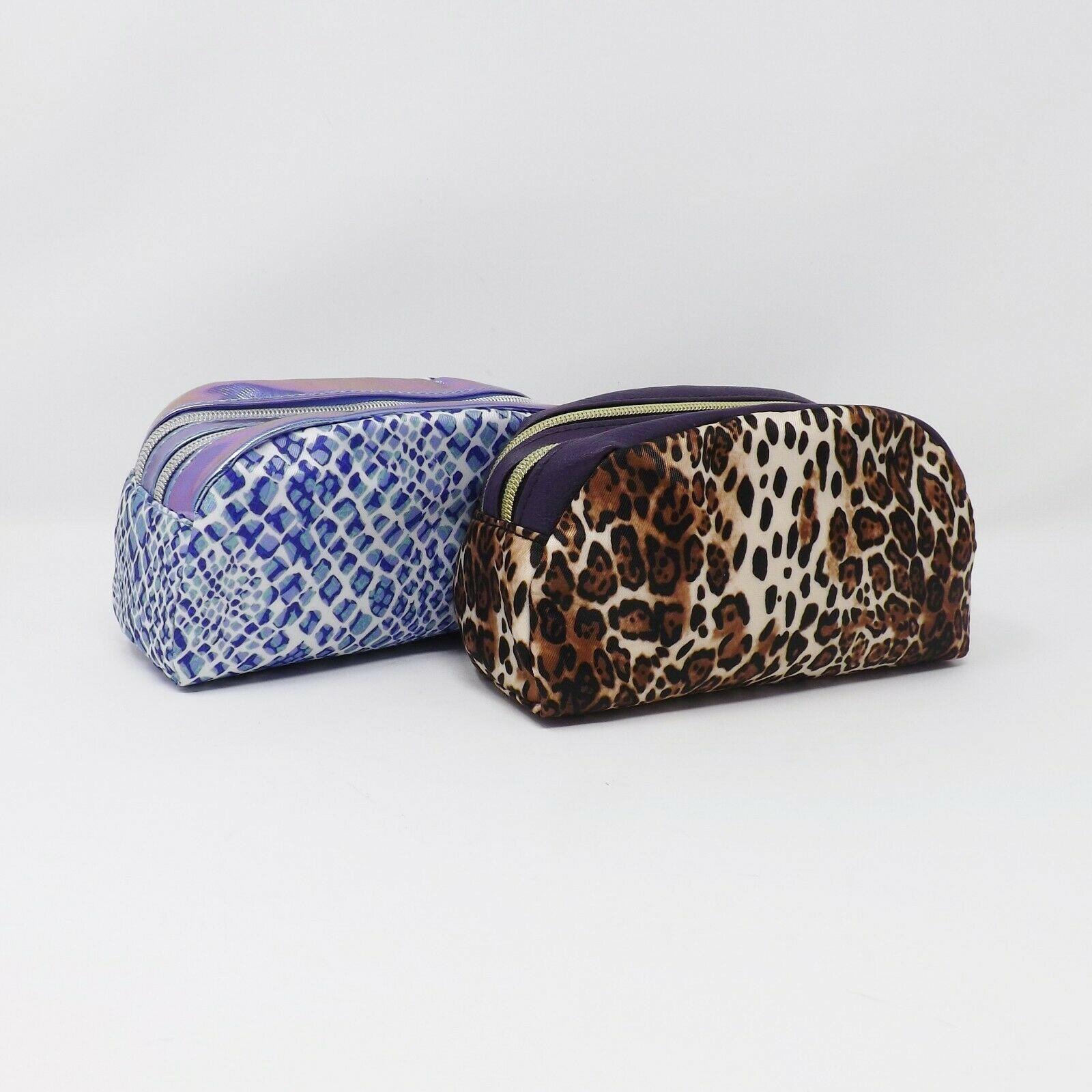 Adrienne Vittadini Studio Double Zippered Cosmetic Travel Case Bag - New