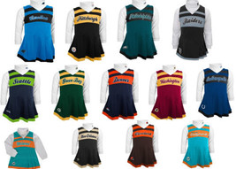 NFL Toddler Girl's Cheerleader Dress 2-Piece Jumper Turtleneck Cheer Outfit #2