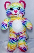 "BUILD A BEAR rainbow striped TIGER CAT 16"" plush multicolored stuffed to... - $8.00"
