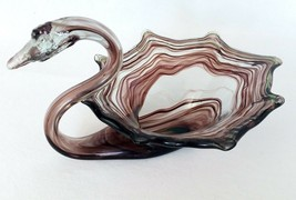 Murano Style Swan Trinket Dish Candy Nut Vanity Art Glass Amethyst Green... - $24.57