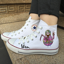 Original Design Sickle Skull Doll Canvas White Shoes High Top Converse All Star - $119.00