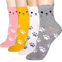 DearMy Womens Cute Design Casual Cotton Crew Socks | Good for (Cat Ear 4... - $21.37