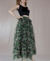 Army Pattern Layered Tulle Skirt Outfit Lady High Waist Tiered Maxi Tulle Skirt  image 3