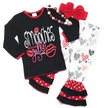 Cute Kids Clothing Toddler Girl Valentine's Day Outfit Smooches Boutique... - $31.49