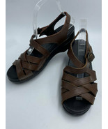 Dansko 39 8.5 Chocolate Brown Leather Weave Strappy Sandals Heels Shoes - $34.99