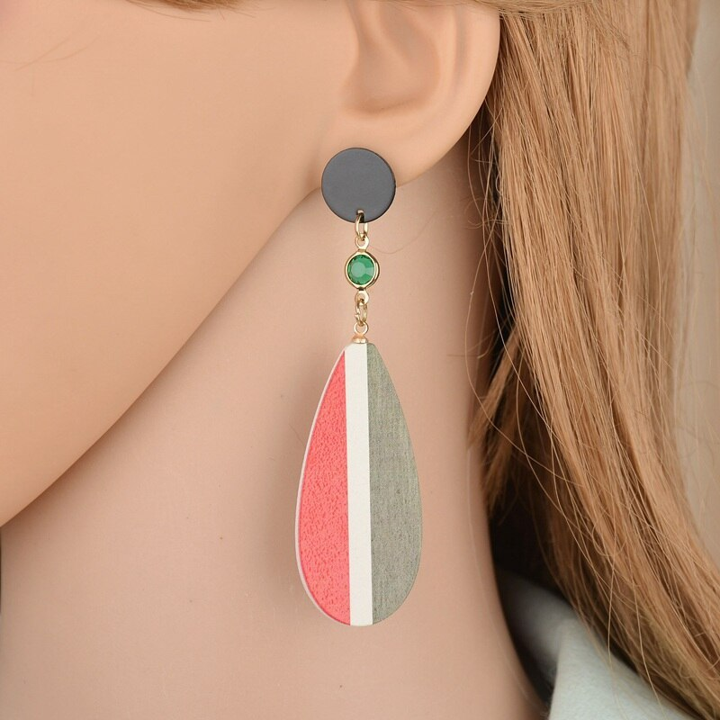 BAHYHAQ - Colorful Water Droplets Wooden Long Earrings Party Jewelry Accessories