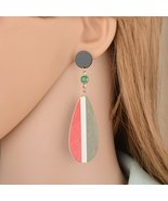 BAHYHAQ - Colorful Water Droplets Wooden Long Earrings Party Jewelry Acc... - $3.70