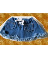 Denim Blue Jean SKIRT Bear Doll Clothes Craft Sew Accessory Western Cowg... - $19.99