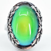 Vintage Inspired Silver & Black Color Changing Statement Oval Cabochon Mood Ring image 5