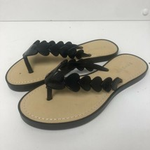 BAMBOO Black Heart Thong Flip Flops Sandals 6 NEW! Hearts - $8.95
