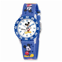 Disney Kids Mickey Mouse Printed Fabric Band Time Teacher Watch - $42.00