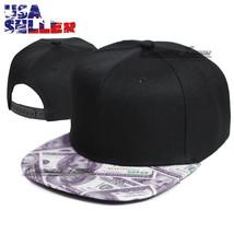 Baseball Cap Snapback Adjustable Hat Money Hip Hop Flat Visor Plain Soli... - $9.95