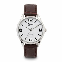 Speidel Silvertone Men's Brown Leather Band Watch - ₹1,908.41 INR