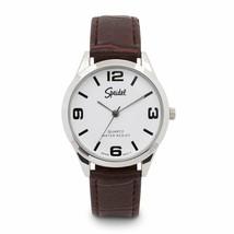 Speidel Silvertone Men's Brown Leather Band Watch - $27.85