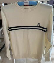 Vintage CREST by Tommy Hilfiger Medium 80s Pull Over Sweater Ivory Navy Stripe - $25.00