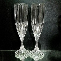 2 (Two) Mikasa Park Lane Cut Lead Crystal Fluted Champagne Glasses Discontinued - $39.89