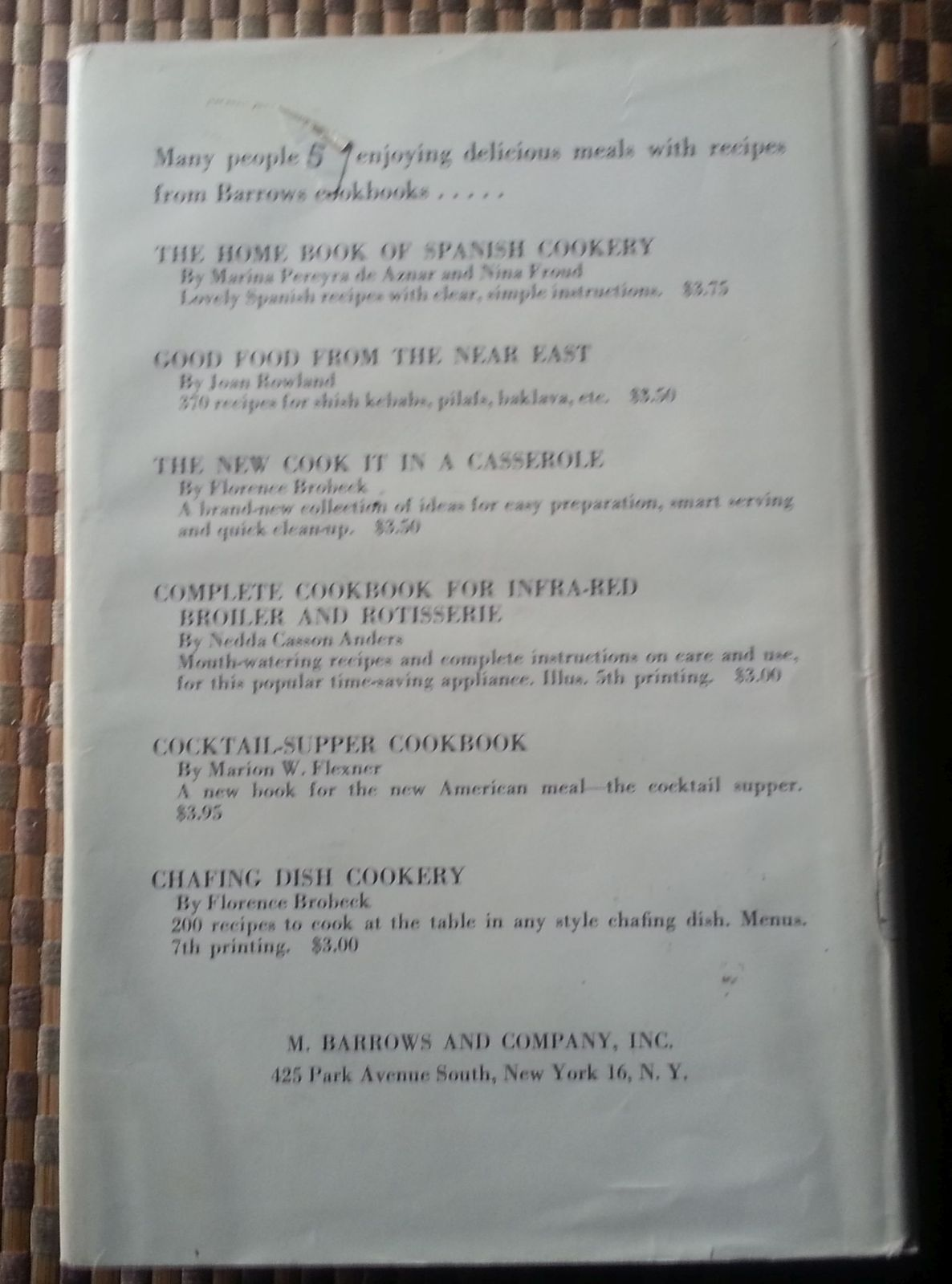 The Country Week End Cookbook by Hila and Louis Colman 1961 HBDJ