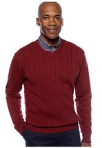 NWT  SADDLEBRED XL  COTTON CABLE KNIT V NECK SWEATER MAROON   MSRP $55. - $11.87