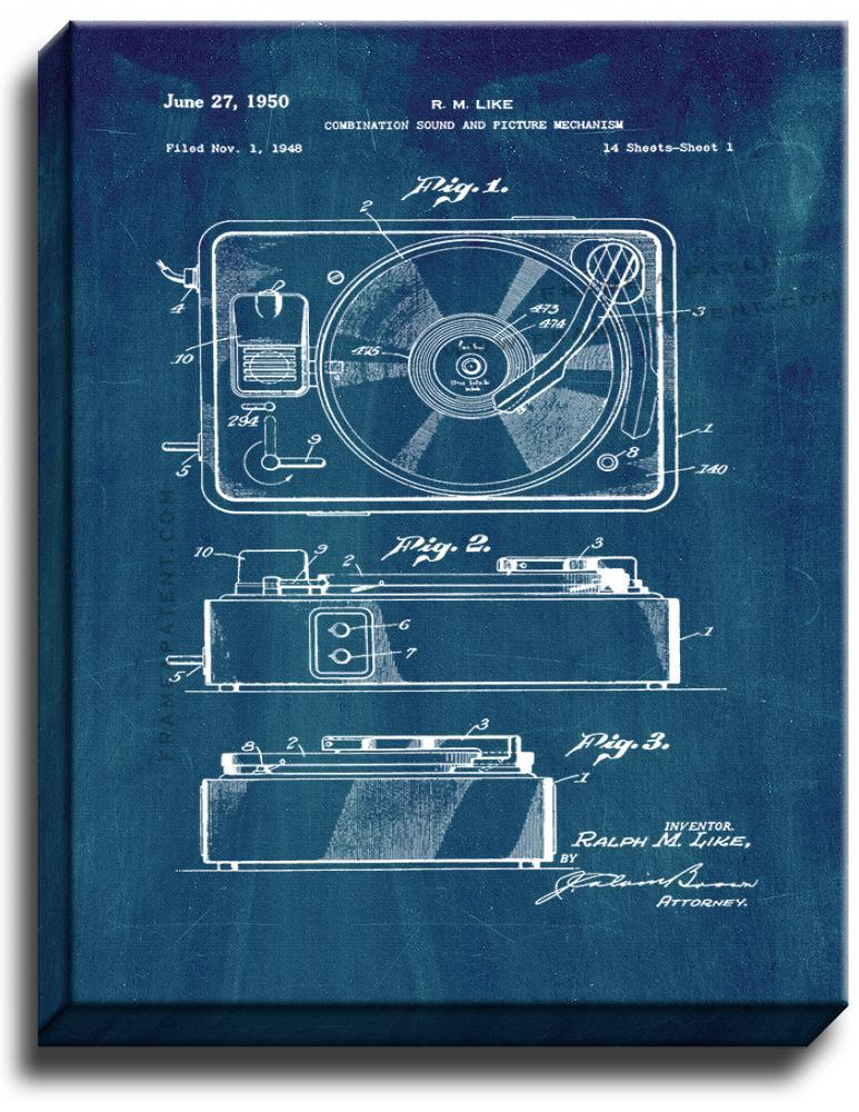 Primary image for Record Player Patent Print Midnight Blue on Canvas