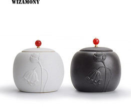 WIZAMONY 200ML Hot Sale Crude Pottery Tea Caddy Canister Stainer High Qu... - $44.60