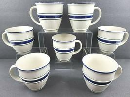 "7 Country Crock Stoneware Mug Set 4 1/4"" Large Coffee Cup Blue Green Stripes Lot - $88.77"